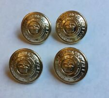 4 X William Scully 25mm Gold Gilt Canadian College Services Buttons Queens Crown