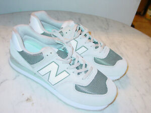 "Mens New Balance 574 ""ML574ESR"" Light Cliff Grey/Green Running Shoes! Size 14W"