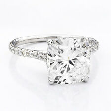 1.76 Ct Cushion Cut Diamond U-Setting Engagement Ring E,VS1 GIA White Gold