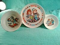RAGGEDY ANN AND ANDY Vintage 1969 Set of Oneida Plastic Child's Plate & 2 Bowls
