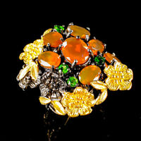 Women Jewelry Natural Orange Opal 925 Sterling Silver Ring Size 7/R117029