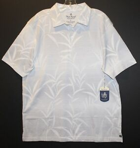 Nat Nast Mens Size M Casual White Gray Tropical Polo Shirt NWT $88 Size M
