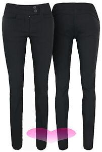 Ladies Girls Black Work School Office Trousers Stretch Fitted Skinny Pants 6-14.