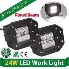 2X 4inch 24W Square CREE LED Cube Pod Work Light Flush Mount Off-road Truck Jeep