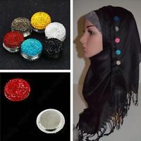1Magnetic Round Hijab Pin Headscarf Abaya Clasp Brooch Shawl Scarf Cryst  ; Q6M7