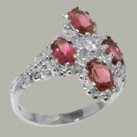 9k White Gold Natural Diamond & Pink Tourmaline Womens Cluster Ring