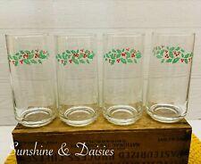 "(4) Corelle Corning ""Winter Holly"" 14 oz Drinking Glasses Tumblers Glassware"