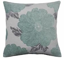 """FILLED POPPY DUCK EGG BLUE WHITE SILVER CHENILLE THICK CUSHION 22"""" - 55CM"""