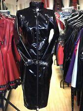 Misfitz black Pvc padlock lockable mistress dress 2 way zip size 22 TV Goth CD