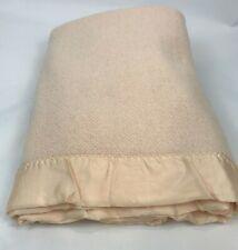 Vintage Acrylic Waffle Weave Blanket Satin Trim Pink 85 x 87 Fieldcrest Soft