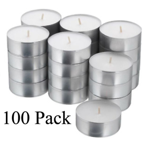 Tea Light 10 20 40 100 Lights Votive Candles Bulk White Unscented 4 Hours NEW