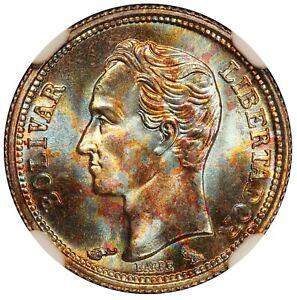 1960 Venezuela 25 Centimos Silver Coin - NGC MS 68 - Y# 35a - Rainbow Toning