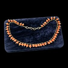 Antique Vintage Art Nouveau 18k 22k Etruscan Salmon Coral Seed Pearl Necklace