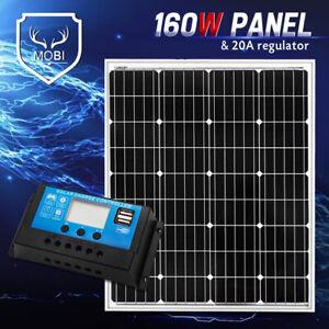 MOBI 160W Solar Panel Mono Cell With 20A 12V 24V PWM Regulator Dual USB