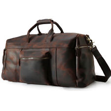 Retro Men Leather Overnight Bag Travel Luggage Suitcases Duffle Gym Shoulder Bag