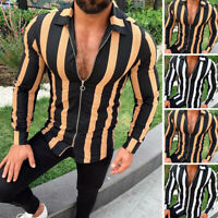 Men's Retro Striped Shirt Beach Short Sleeve Vintage Long Sleeve T Shirt Tops UK
