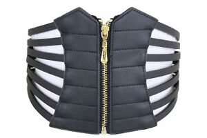 Women Black Wide Stretch Band Sexy Fashion Corset Belt High Waist Plus Size L XL
