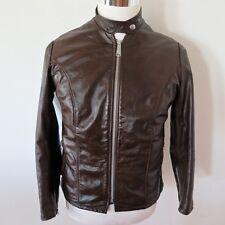 Vintage Original Schott Cafe Racer Leather Jacket 1970's Sz 12 Brown Pile Liner