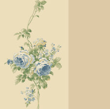 Wallpaper Classic Rose Trail Tone on Tone Beige Stripe Blue Floral Roses
