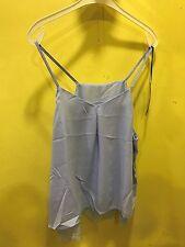 Stunning Sky Blue Cami Vest Top Size XL Chiffon Lace Hemline Double Layer 18