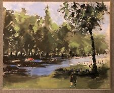 FRED CUMING  RA PAINTING  RIVER SCENE ACRYLIC WASH SIGNED VERSO