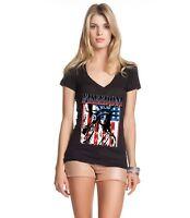 Freedom Flag Lady Liberty Women's V-Neck T-shirt American Patriotism Flag  Tee