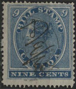 Canada Revenue VanDam #FB9 9c blue bill stamp of 1864, perf 13.5x12.5, used