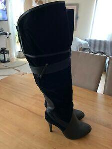 Ausgefallene Stiefel schwarz Velourslederoptik High Heels 40