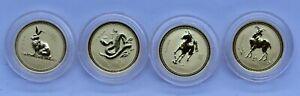 1996-2003 Australia Gold Lunar Series 8 Gold Coins in Original Box 1/20 oz $5