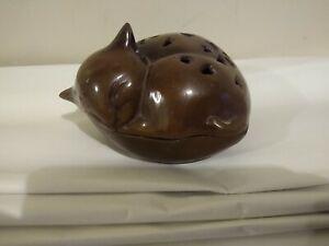 "Antique Vintage Cast Iron Cat Incense Holder Burner 6""x5""x3-1/2""  2lbs 9 oz"