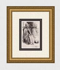 "Alphonse LEGROS Original 1800s Etching ""Paysannes Boulogne"" SIGNED Framed COA"