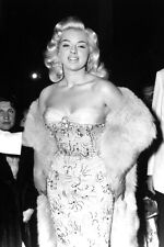 Diana Dors ultimate glamour pose strapless dress & fur smiling 11x17 Mini Poster