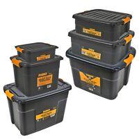 Heavy Duty Black Plastic Storage Box Lids & Handles Underbed Shoes Clothes Toys