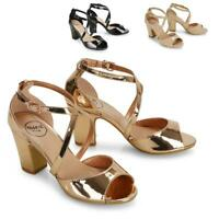 Womens Strappy Sandals Block Mid Low Heel Ladies Party Dancing Shoes Size 3-8