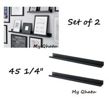 "IKEA picture ledge 45"" floating shelf black spice/book holder MOSSLANDA Set of 2"