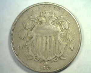 1867 NO RAYS SHIELD NICKEL EXTRA FINE XF EXTREMELY FINE EF NICE ORIGINAL COIN
