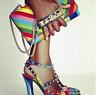 Pointed Toe High Heel Stilettos Rivets Rainbow Women Ankle Buckle Sandals  Sexy