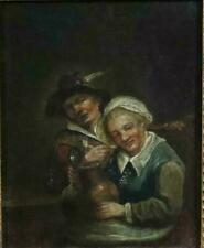 Antique Dutch/Flemish Oil Painting on Wood Board Old Couple Framed c.1800