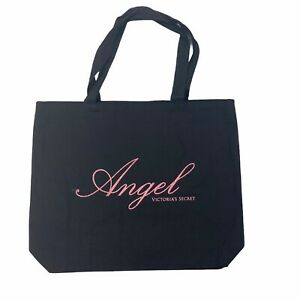 Victoria's Secret Tote Shopping Bag Black Angel Canvas Pink Glitter Letters NWT