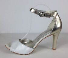 Anne Klein Iflex White And Gold Ankle Strap Heels Shoes Womens Size 10