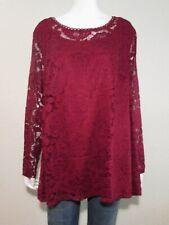 ISAAC MIZRAHI LIVE! 2X Dark Red Stretch Lace Pleat Back Tunic Sheer Long Sleeve