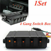 4 Gang Switch Panel 12V Interior Car Rocker Breaker Red LED Light Switch Box 40A