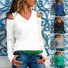 Womens Cold Shoulder V Neck Sweater Slim Fit Knitted Outwear Pullover Top Jumper