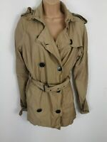 WOMENS FIRETRAP LIGHT BROWN BEIGE DOUBLE BREASTED SMART PEA COAT BELTED UK LARGE