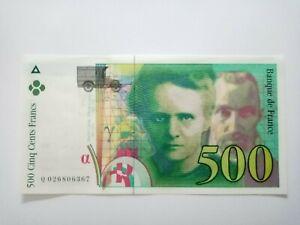 BILLET DE 500 FRANCS PIERRE MARIE CURIE DE 1994 NEUF