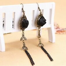 Women Gothic Victorian Style Handmade Black Rose Lace Earrings Vintage hot