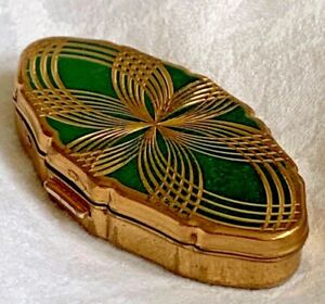 Stratton Green Gold Oval Compact Made in England Flower Geometric Design Vintage