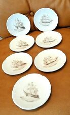 Set of 7 Vintage Spode Coasters/Small Dishes with British Navy Sailing Ships
