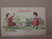 Postcard Greetings A Happy Easter 2 Girls with Eggs unposted