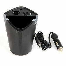 New 3-Port USB Car Cup Chargers Handsfree Holder Cigarette Lighter Power Adapter